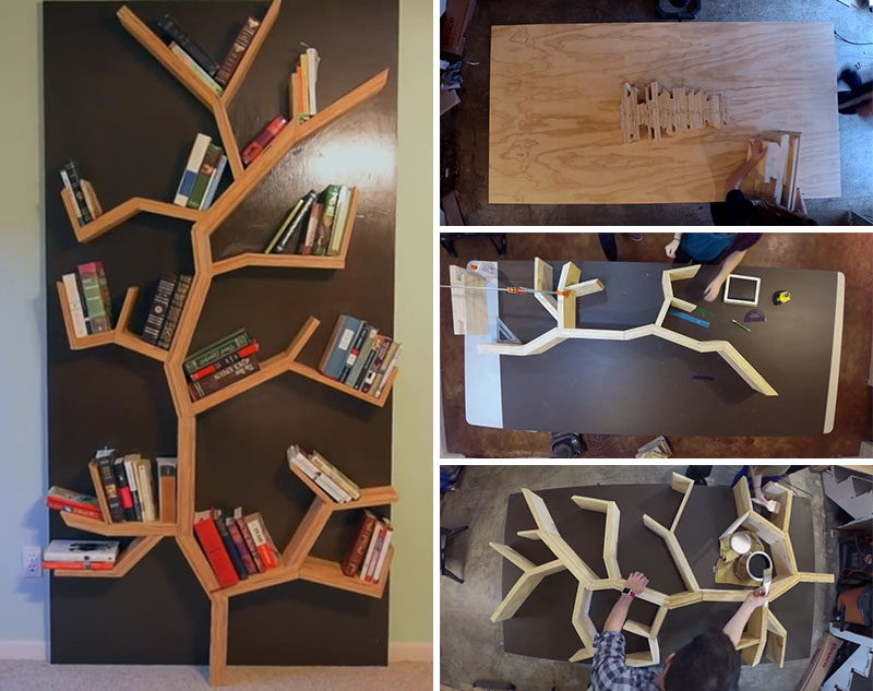 Make Your Very Own DIY Tree Bookshelf Using Plywood