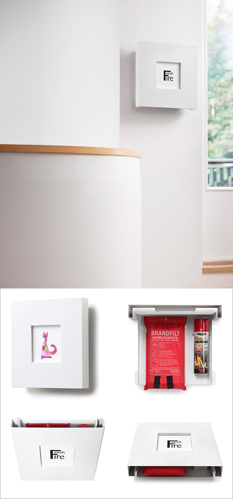 Finishfire have designed a stylish picture frame that hides a small fire extinguisher and a fire blanket.