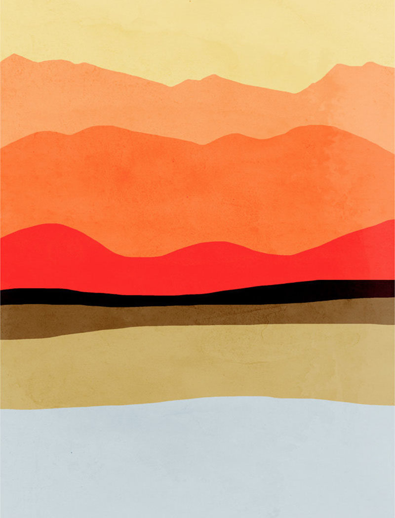 Wall Art Ideas - Vancouver based artist Eve Sand has created a collection of bold and abstract wall art prints that have been inspired by Mid-Century Modern design and represent landscapes like mountains, oceans, and fields.