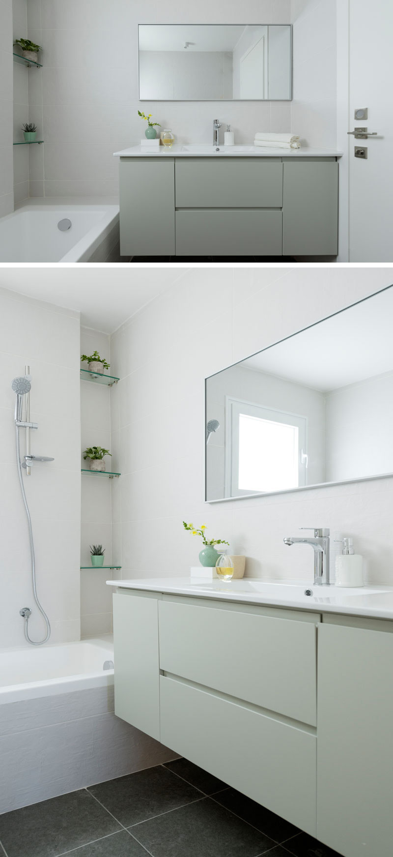 In this modern bathroom, mint green is used for the cabinets below the white sink and rectangular mirror. Glass shelves above the bathtub provide a spot for indoor plants.