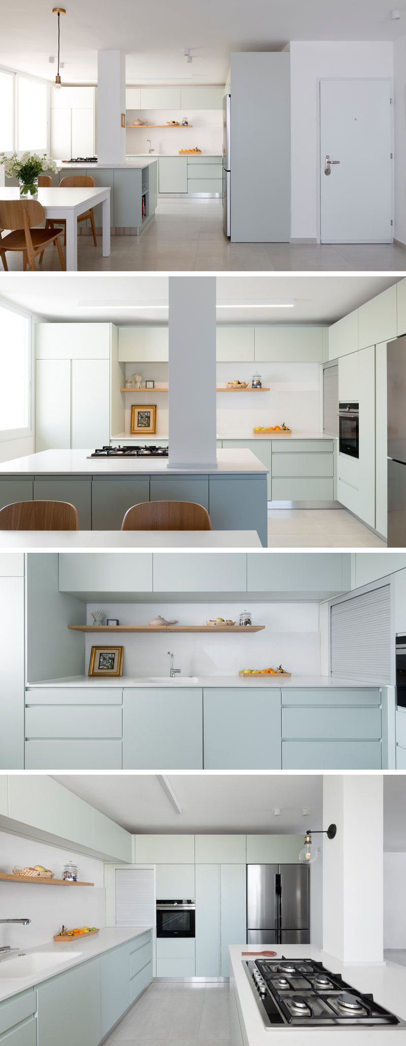 In this modern kitchen, white counters and light mint green cabinets give the space a sleek contemporary look. The large white island provides plenty of counter space, while a floating wood shelf ties in with the wood dining chairs and furniture in the living room.