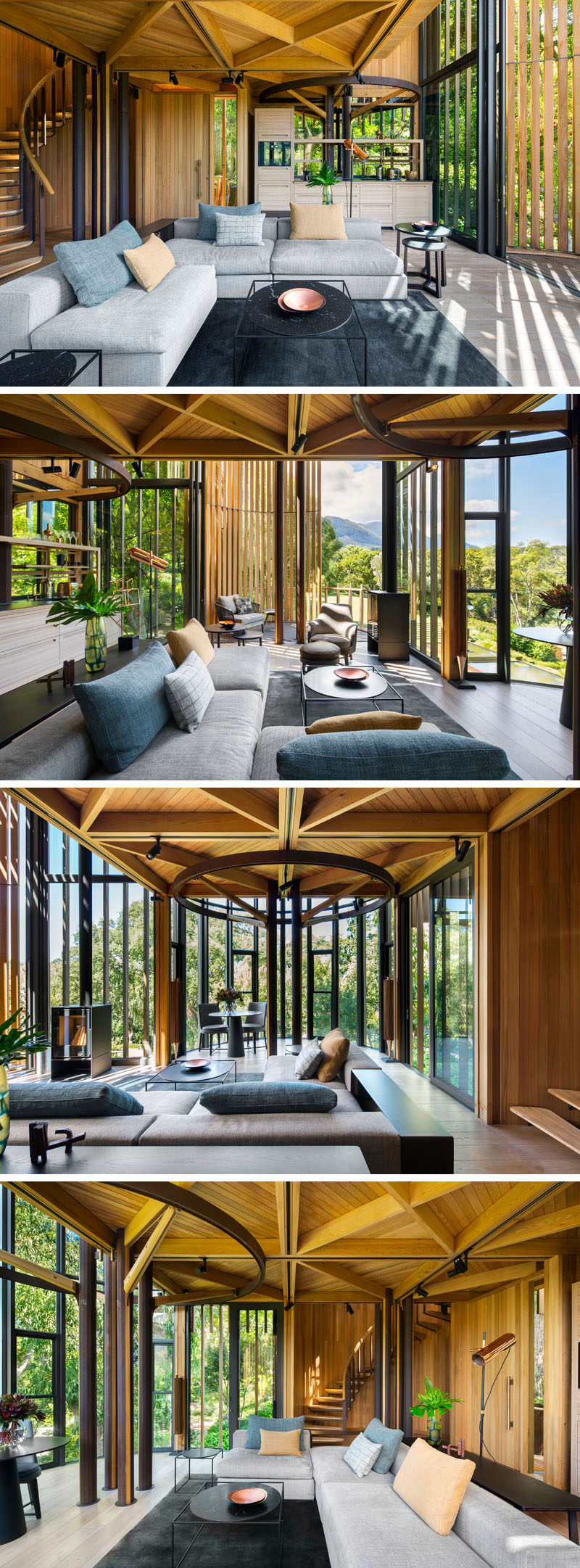 The first floor of this modern tree house is home to the living room that opens up to a balcony. Decorated in light greys and earth tones, this room compliments it's wood surroundings.