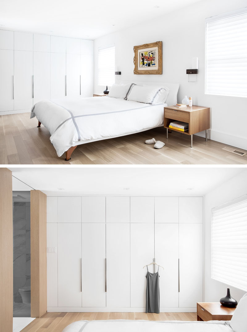 On the second floor of this updated home, there was a major overhaul of the master bedroom suite, creating his and hers closets, a library and a brand new bathroom. Walls were moved and the floor plan was reconfigured to make the space feel more luxurious.