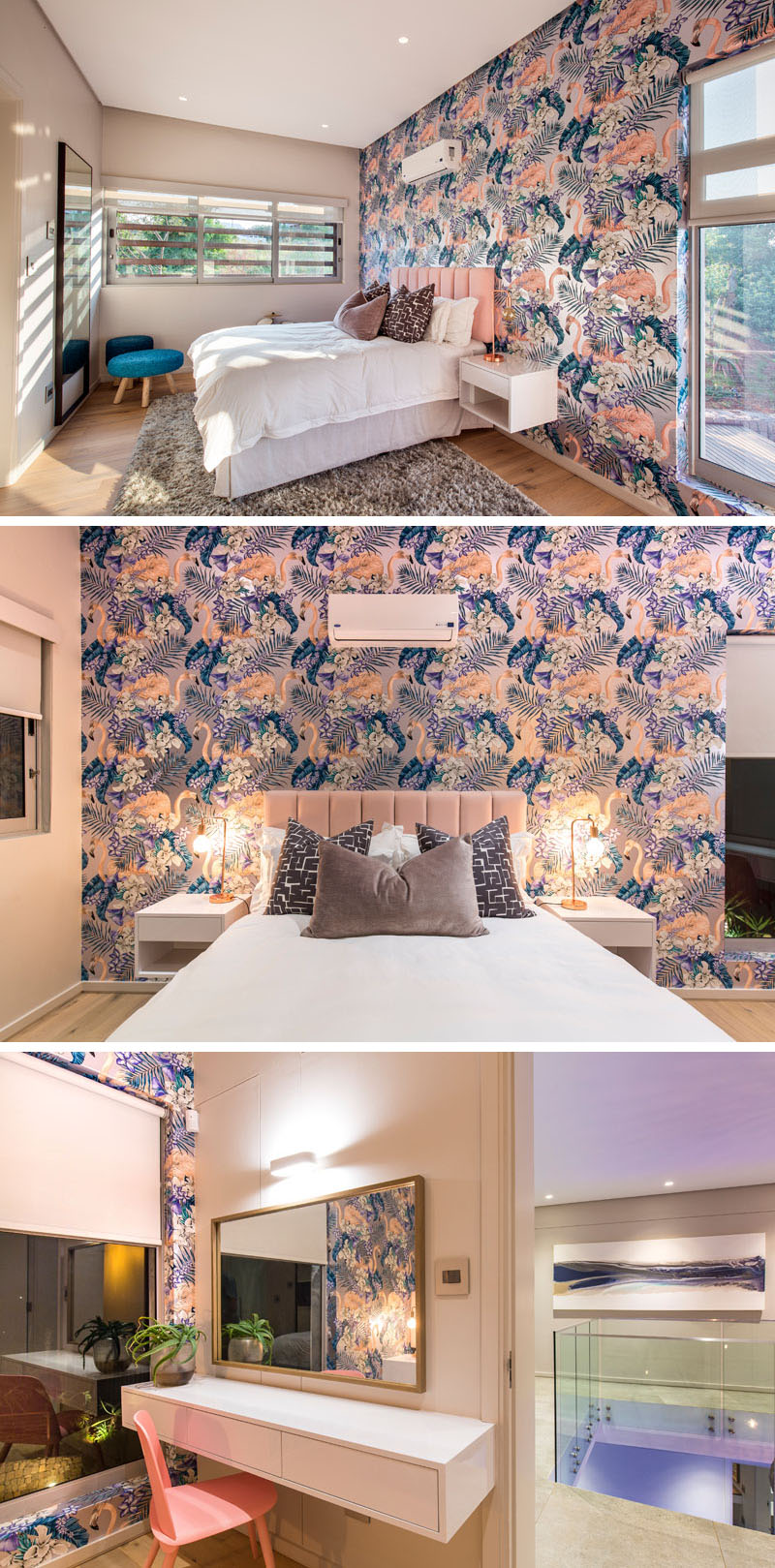 In this modern fun and tropical inspired bedroom, shades of pink, purple, and blue are used in the decor and fabrics to compliment the bright and colorful, flamingo wallpaper used on the accent wall.