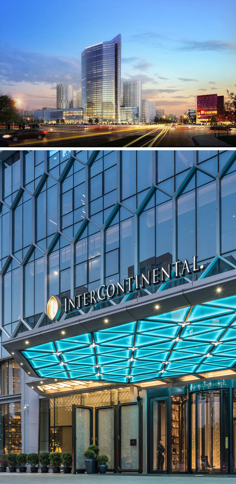 The hexagonal diamond effect of this modern building facade is where Joe Cheng began as a starting point for the design inspiration of the hotel. Before entering the hotel, neon blue, geometric shaped lights glow above the front entrance to the hotel.
