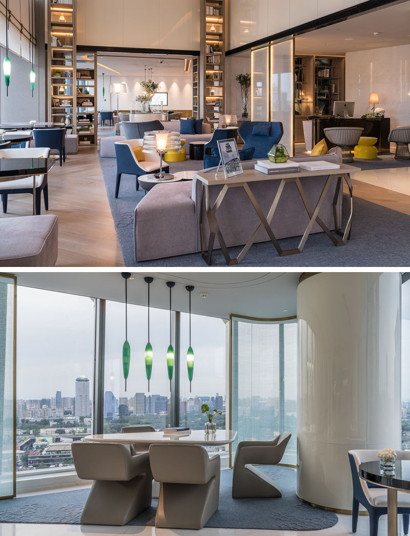 In the executive lounge of this modern hotel, hidden lighting has been used to highlight the floor-to-ceiling shelves and the frosted panels that divide part of the room.