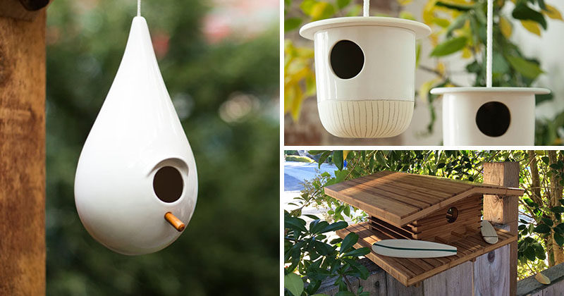 Birdhouses are a great gift idea for a housewarming, or perhaps you want to dress up your own backyard. Here are 9 birdhouses, each with their own fun and modern design...
