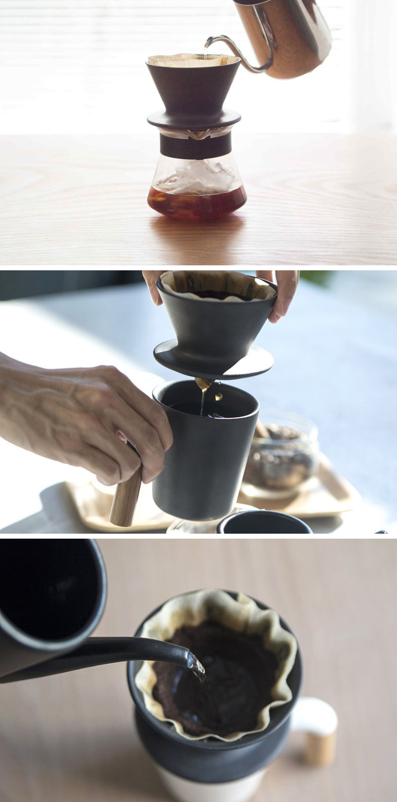 A quick brew is easily and beautifully achieved with this modern coffee pour over made from matte black Japanese ceramic.
