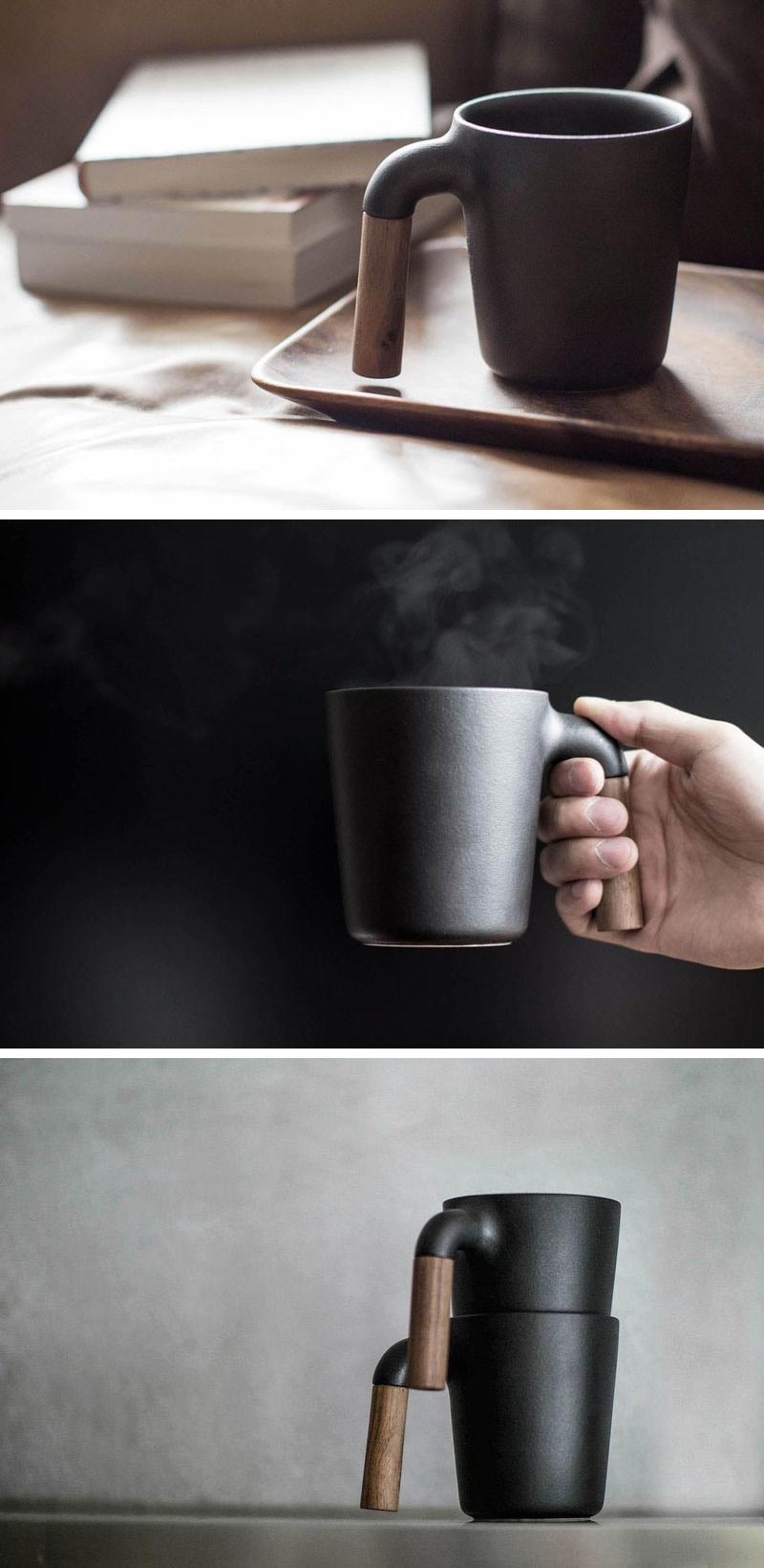 This modern matte black glazed Japanese ceramic mug is an easy to carry mug with a sturdy walnut wood handle.
