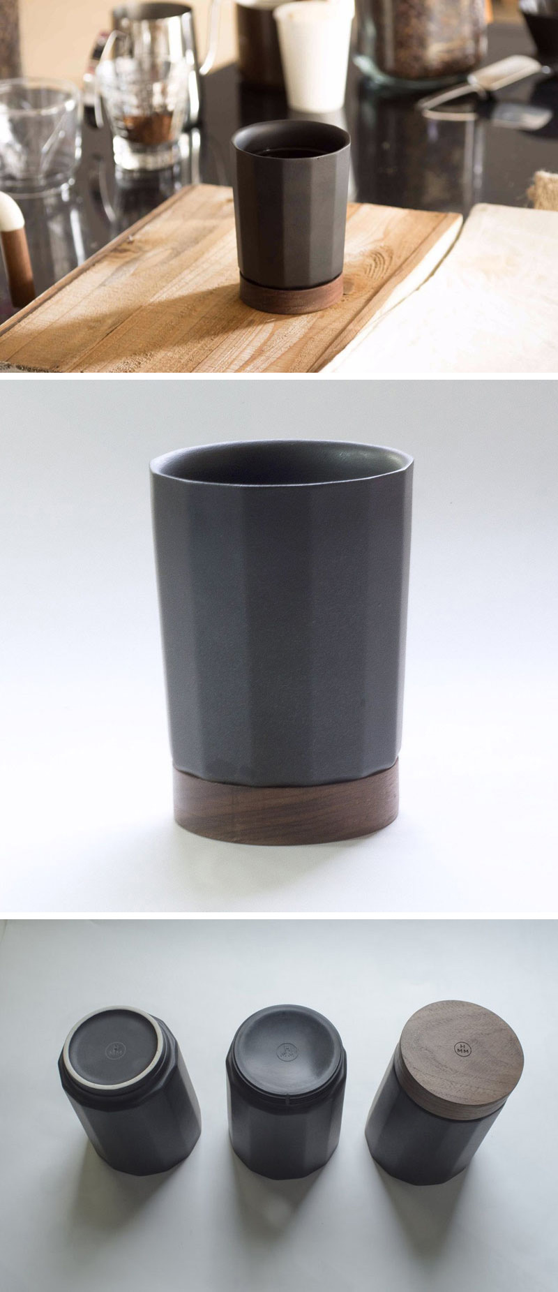 Made from matte Japanese ceramic with a walnut wood base, the Time tumbler has an angular exterior, making the cup easy and fun to hold.