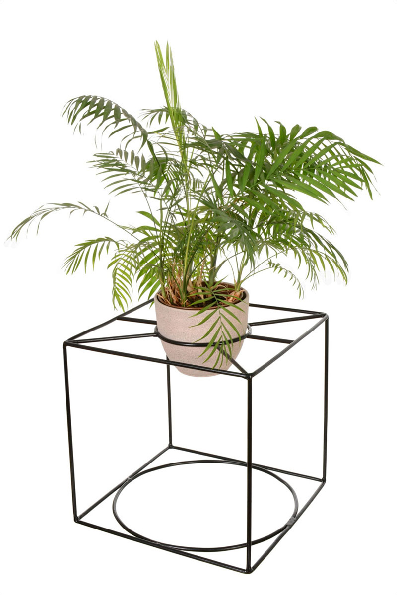 This modern and geometric black metal plant stand can gracefully display plants.