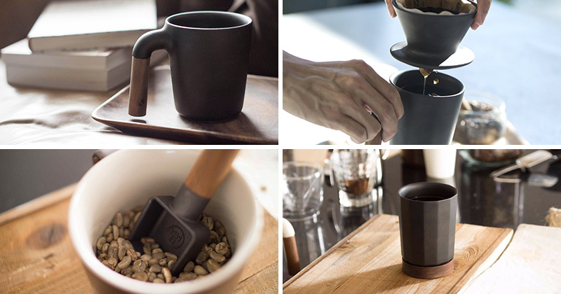 This modern line of matte black ceramic and wood coffee accessories take your morning ritual to a whole new level.