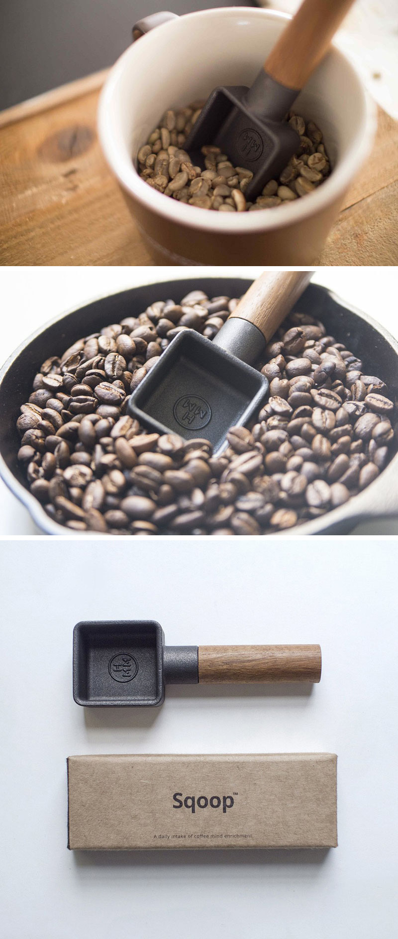 The Sqoop is a heavily weighted, cast iron and teak coffee scoop. Collecting beans for your morning coffee has never been so easy.