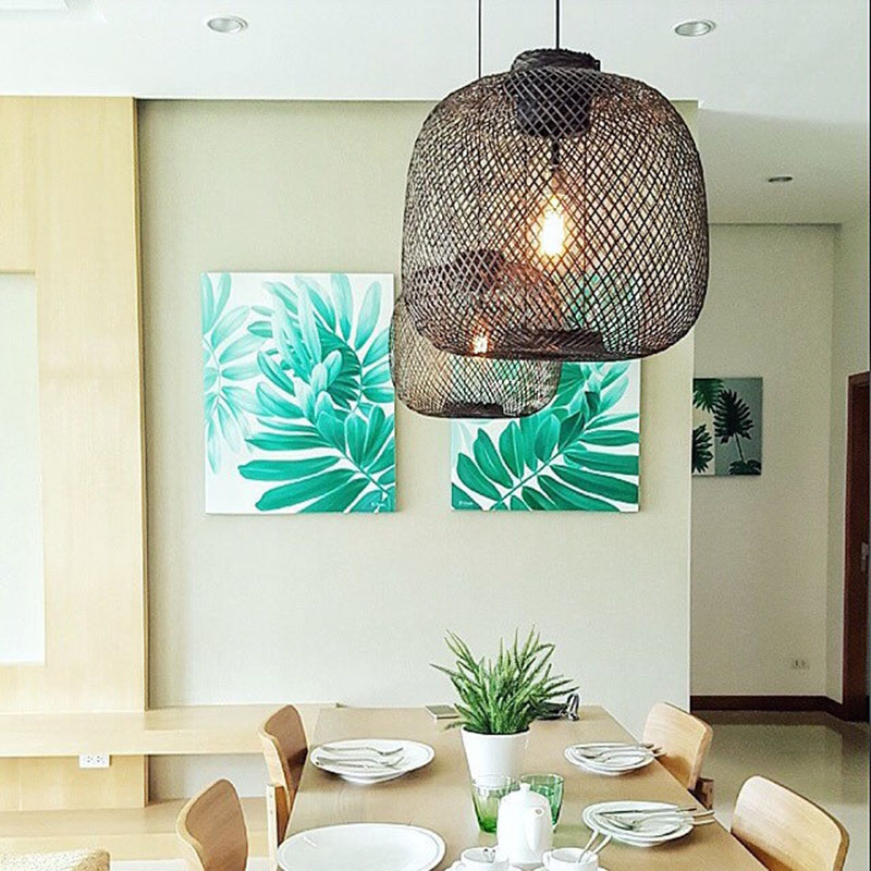 Made from high quality bamboo, black metal, and brass these modern large woven pendant lights are unique in design, giving any room an artistic touch.