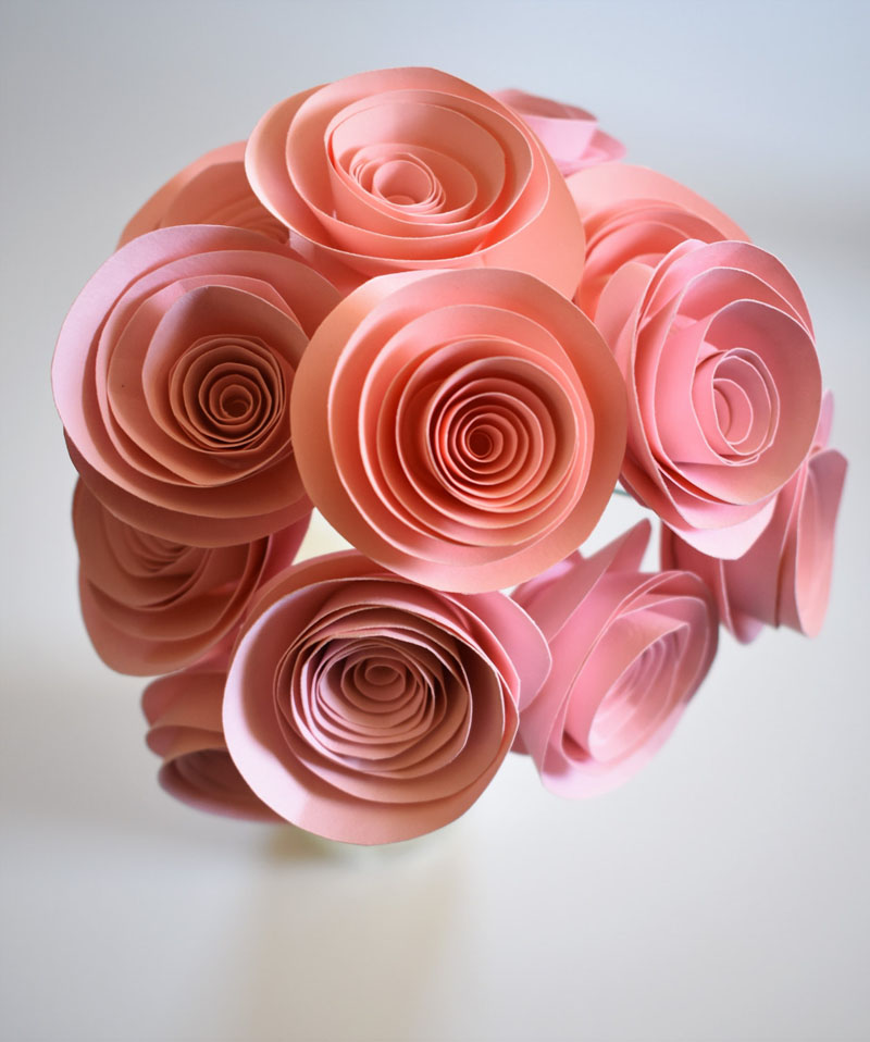 Made from paper, this modern floral blush pink centre piece is easy to move and doesn't need to be watered.
