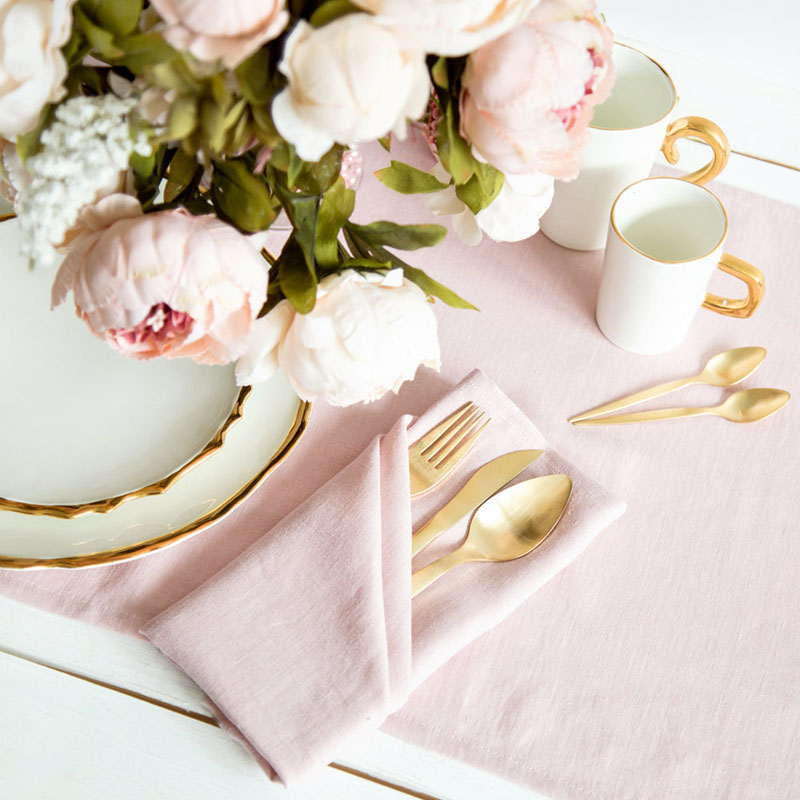These blush pink linen napkins will instantly give your dining table a touch of class.