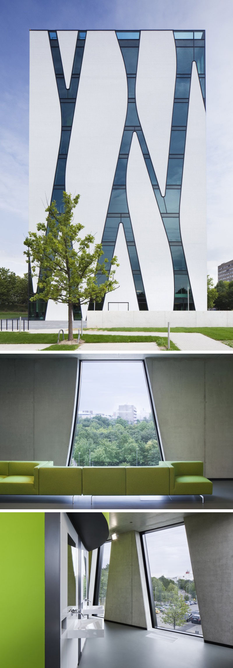 The white exterior of this modern library is made more unique by the elongated windows, connected by strips of glass, that line the building.