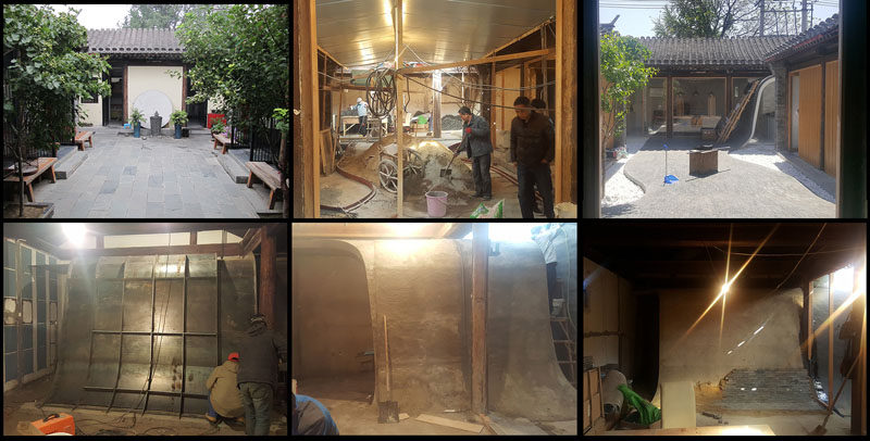 This group of images shows the installation process of a curved tile wall that flows from the roof down to the courtyard.