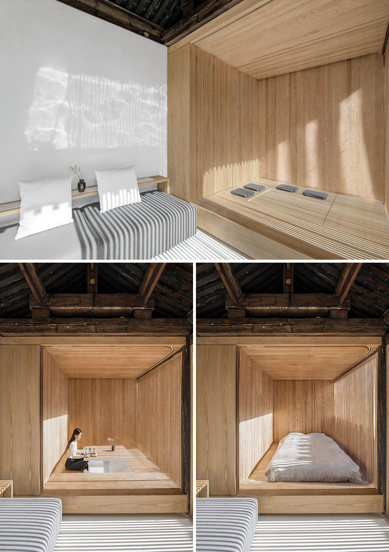 This minimalist room can be converted from a tea room into a bedroom via the furniture box.