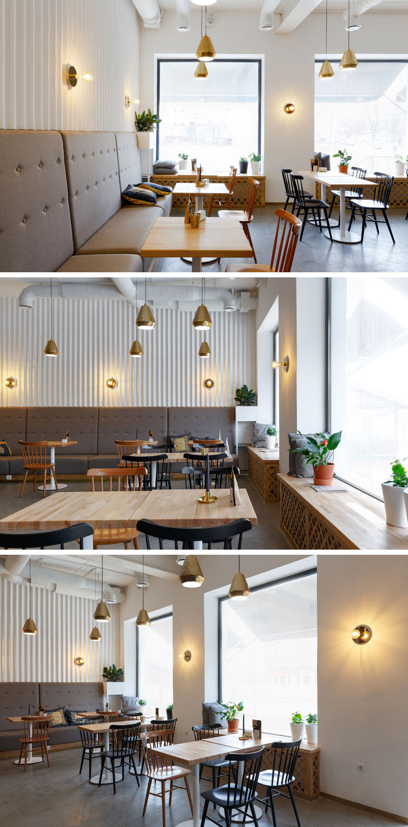 Located next to the windows in this modern coffee shop, are wooden benches that are able to be used as additional seating, making them ideal for watching the world go by while having a cup of coffee. A few plants scattered around the coffee shop adds a natural touch.