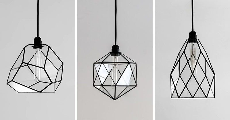 Modern black geometric glass pendant lights are unique and handmade.