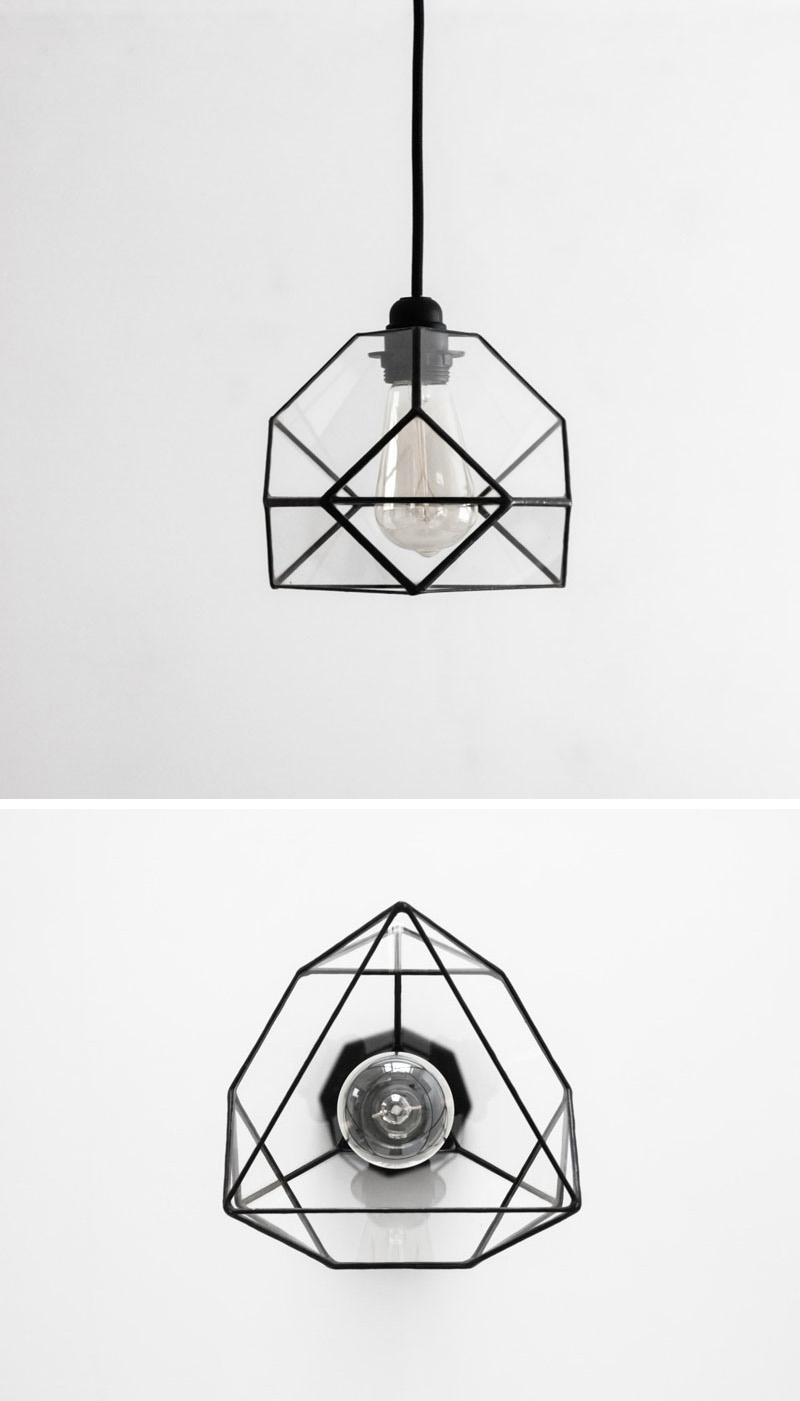 This small glass pendant lamp with black lines, looks different geometrically from various angles.
