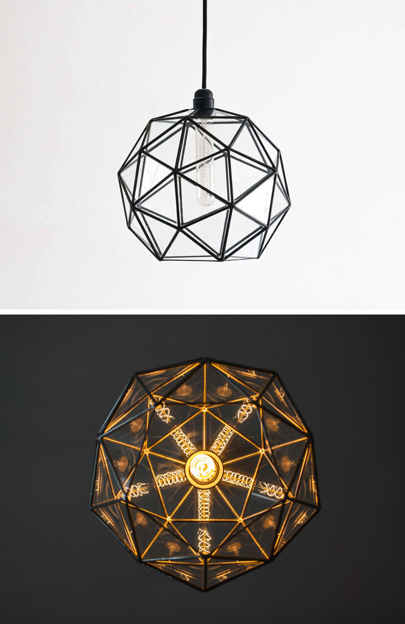 When this modern pendant light is turned on at night, lines and sections meet reflecting a warm repetitive glow of geometric shapes.