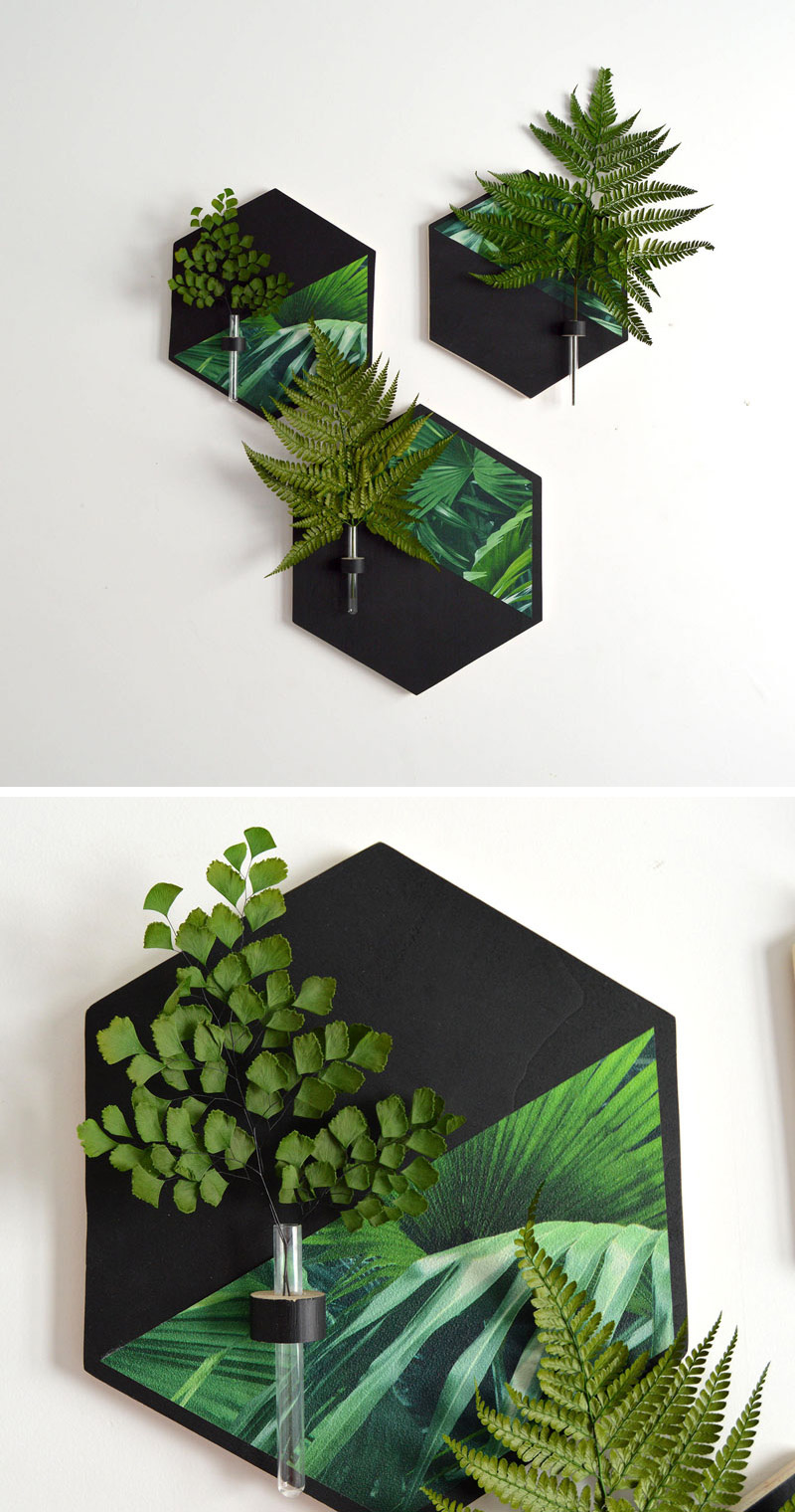 These wall mounted vases also double as art contemporist these black and tropical hexagonal wall vases put small flowers or leaves on display and reviewsmspy