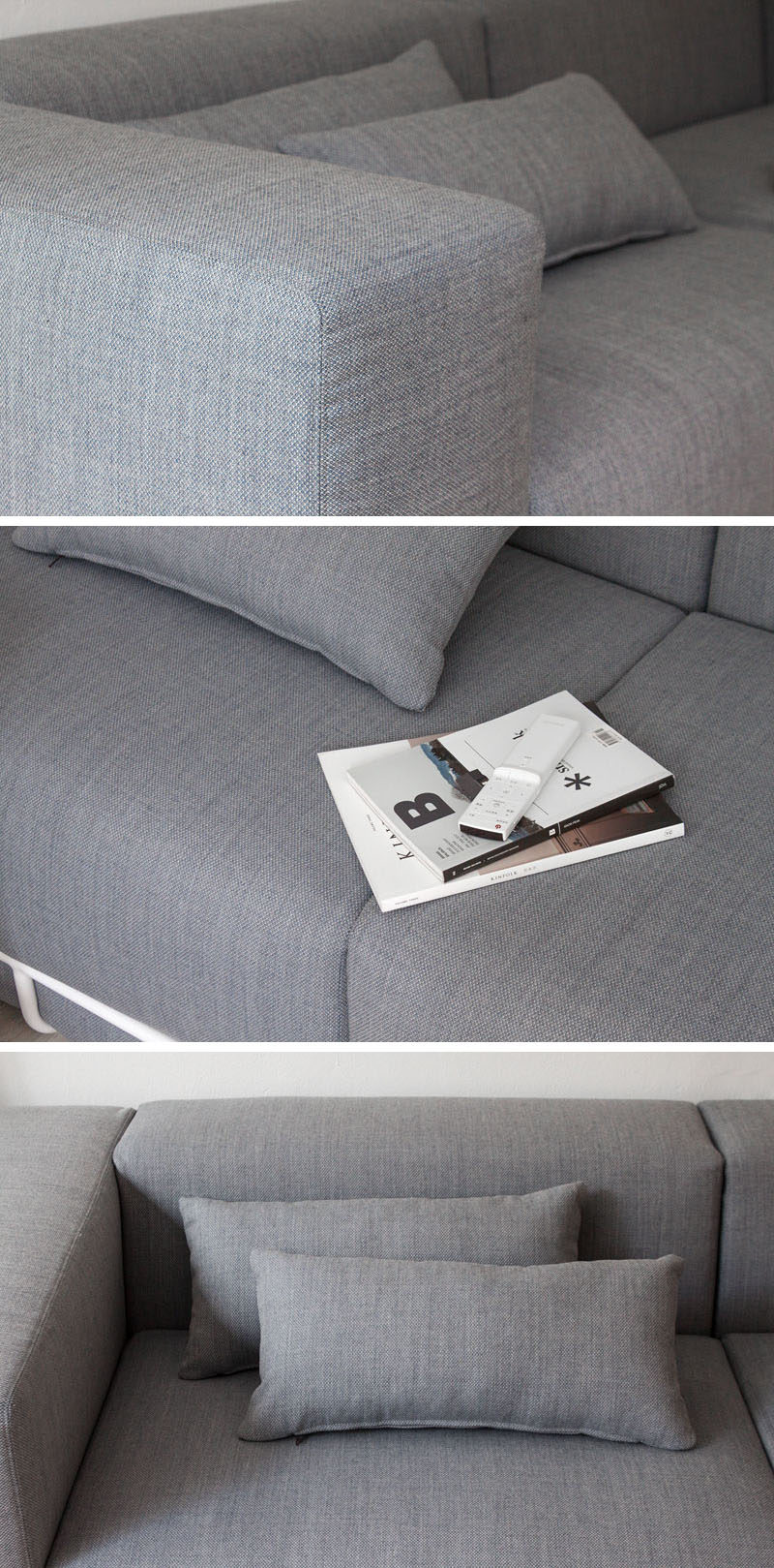 Seoul based designer Cho hyung suk, has designed a modern grey couch that sits within an exposed white metal frame.