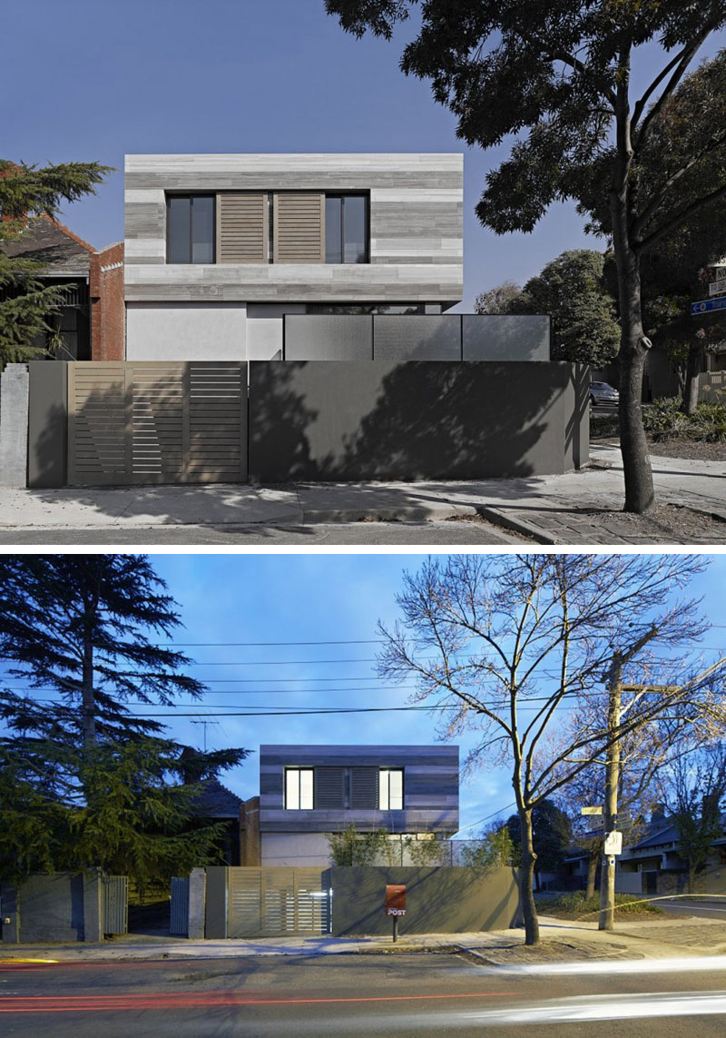 Placed on the corner of the neighbourhood, this modern house can be seen from various angles. A wood gate provides entry to the garage.