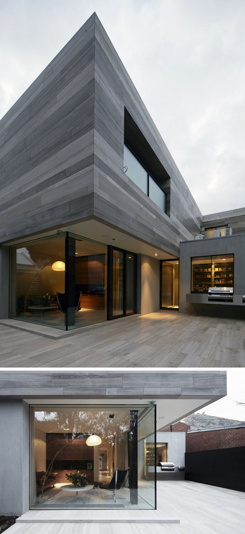 At the back of this modern home, large corner windows provide a view of the interior. A large patio and outdoor patio making this space great for entertaining.