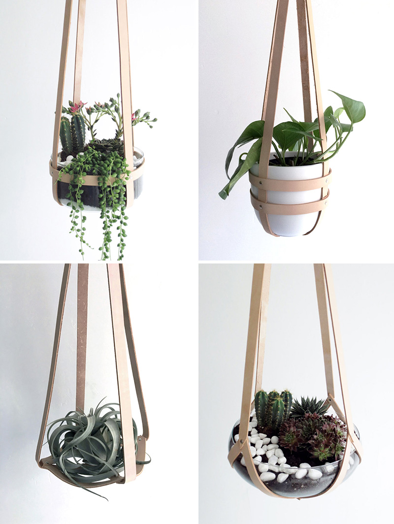 These sturdy and modern hanging planters are made from thick nude vegetable tanned leather and silver rivets