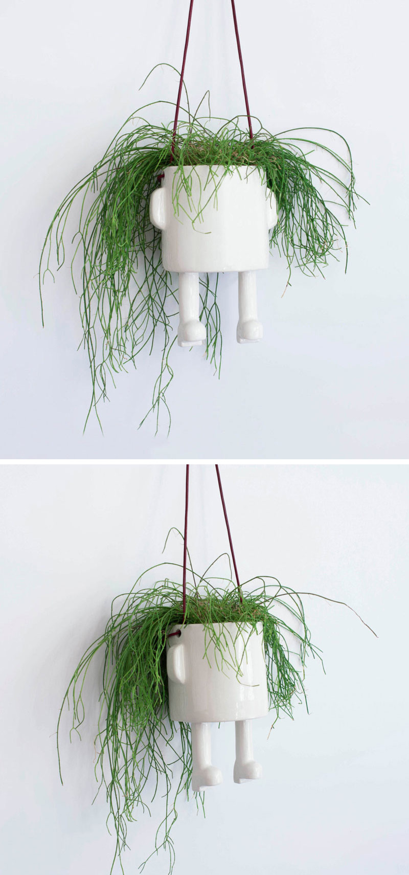 Fun and whimsical, this person-shaped white ceramic hanging planter is the ultimate home for a small plant, and lets you choose the hairstyle for your planter.  #HangingPlanter #ModernPlanter #HomeDecor #Garden #Plants
