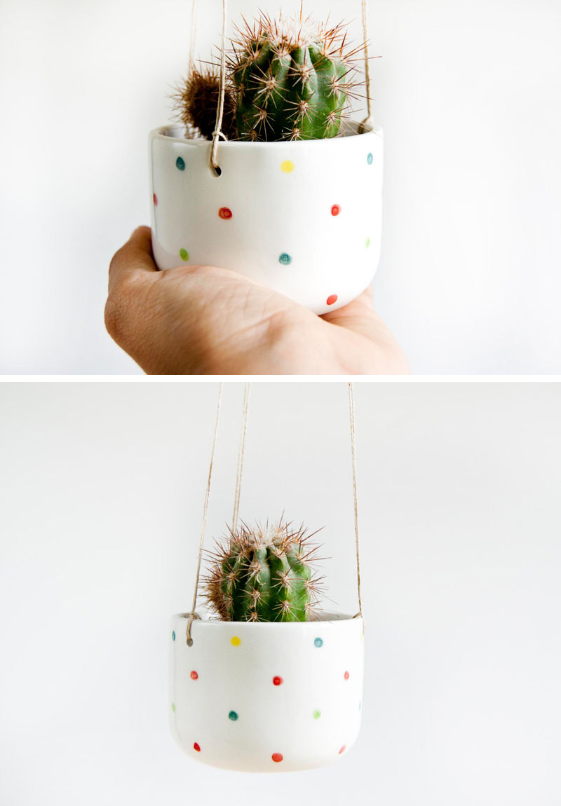Small in size, this modern mini hanging planter is perfect for succulents or cacti. The white ceramic pot with colorful spots is inspired by both, Scandinavian and Kawaii styles.