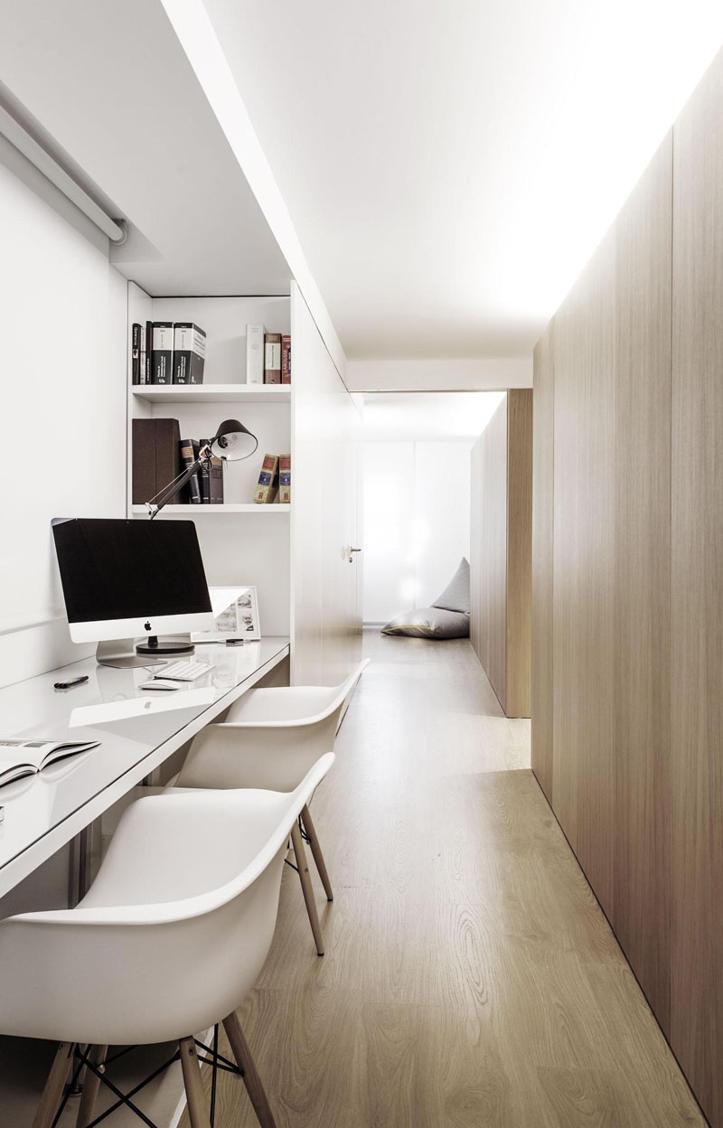 home office white. Built-in Shelves Provide Extra Storage Beside The Desk For Two In This Home Office. Soft Lighting From Above Creates A Perfect Work Environment Office White P