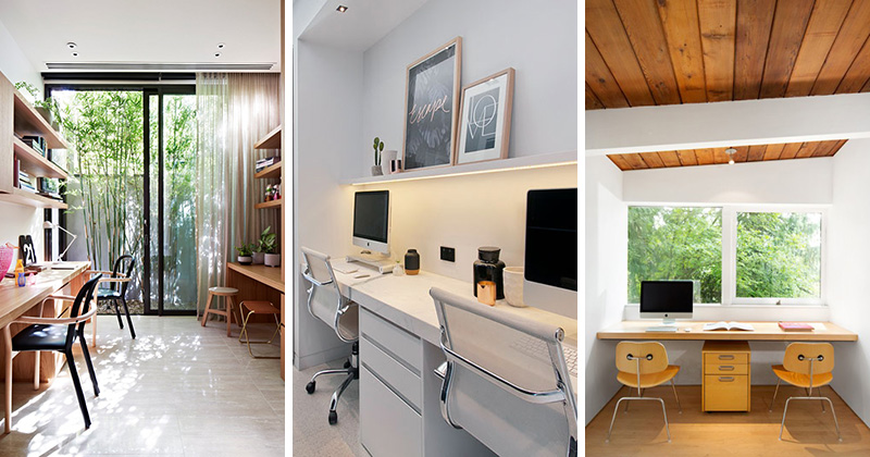 office for home. these office spaces for two people are functional and modern in design home
