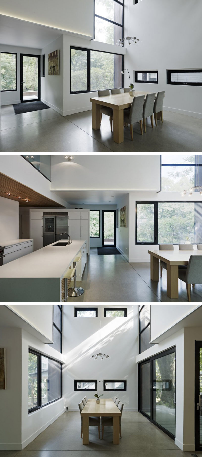 This modern house has polished concrete flooring that's heated, which compliments the white interior with black framed windows. Sliding glass doors beside the dining table lead to an outdoor porch.