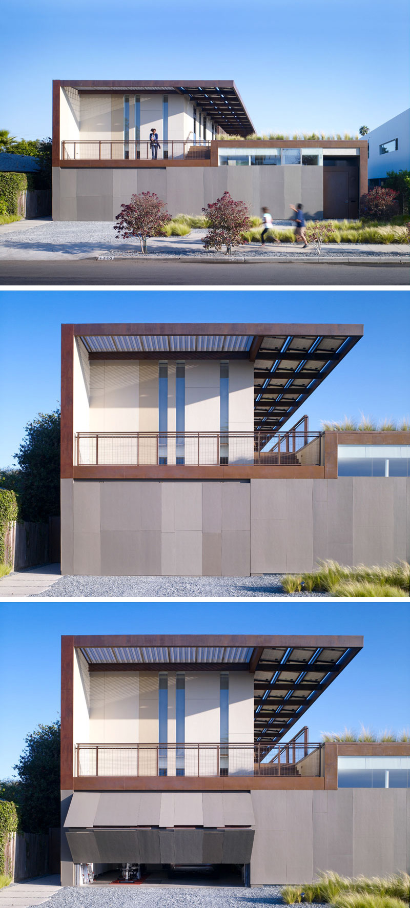 The front of this modern house appears to have a solid lower level until the garage door is activated, then it folds out and up to reveal the contents inside. A balcony on the second floor makes it easy to see what's happening on the street.
