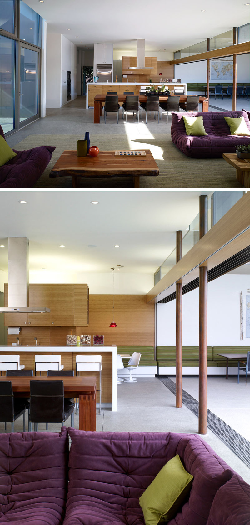Inside this modern living room, sofas upholstered in purple fabric sit on top of a large green area rug.