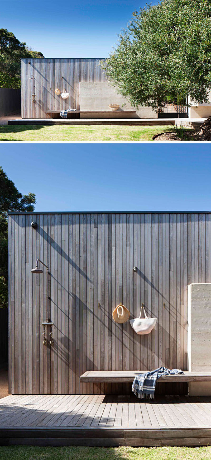 Located along the back wall of this modern garage is a built-in bench, wall hooks and an outdoor shower.