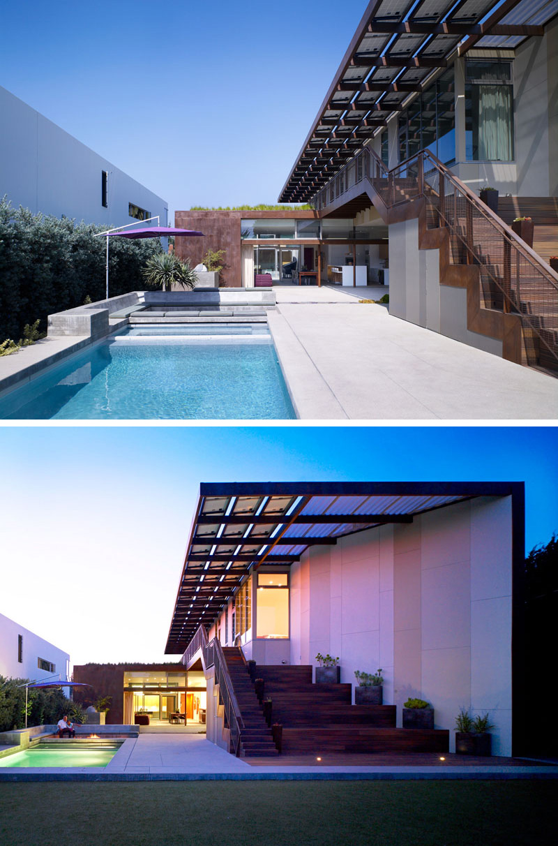 Further seating has been built-in near this modern pool, and helps to create the perfect place to relax in the backyard. The pool lights up when it becomes dark making it safe to swim even at night.