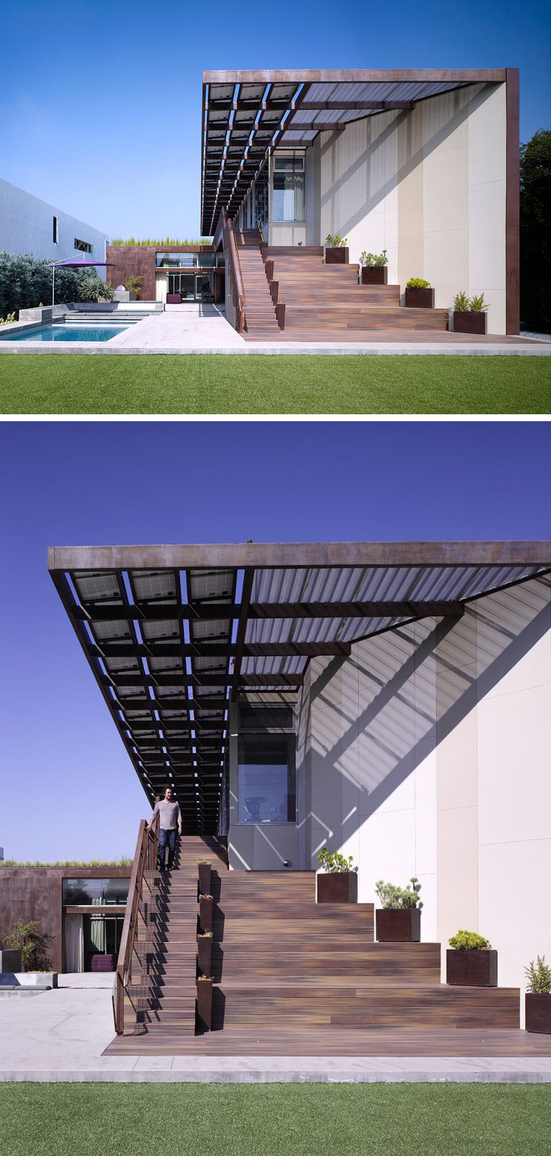 Architecture firm Brooks + Scarpa, have designed this modern net-zero energy family home in Venice, California.