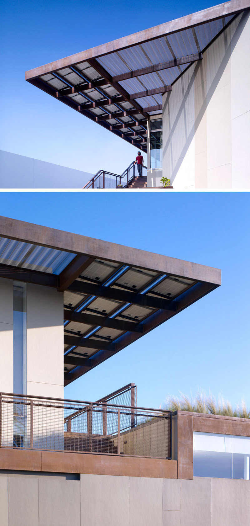 This modern overhanging roof has solar panels and extends out over the stairs providing shade from the sun.