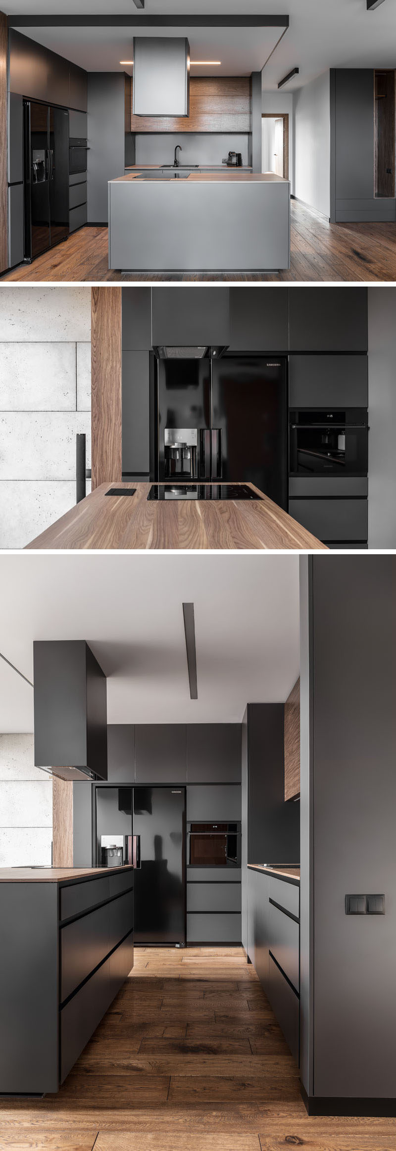 In this modern kitchen, dark grey walls and cabinets have been paired with glossy black appliances and wood elements.
