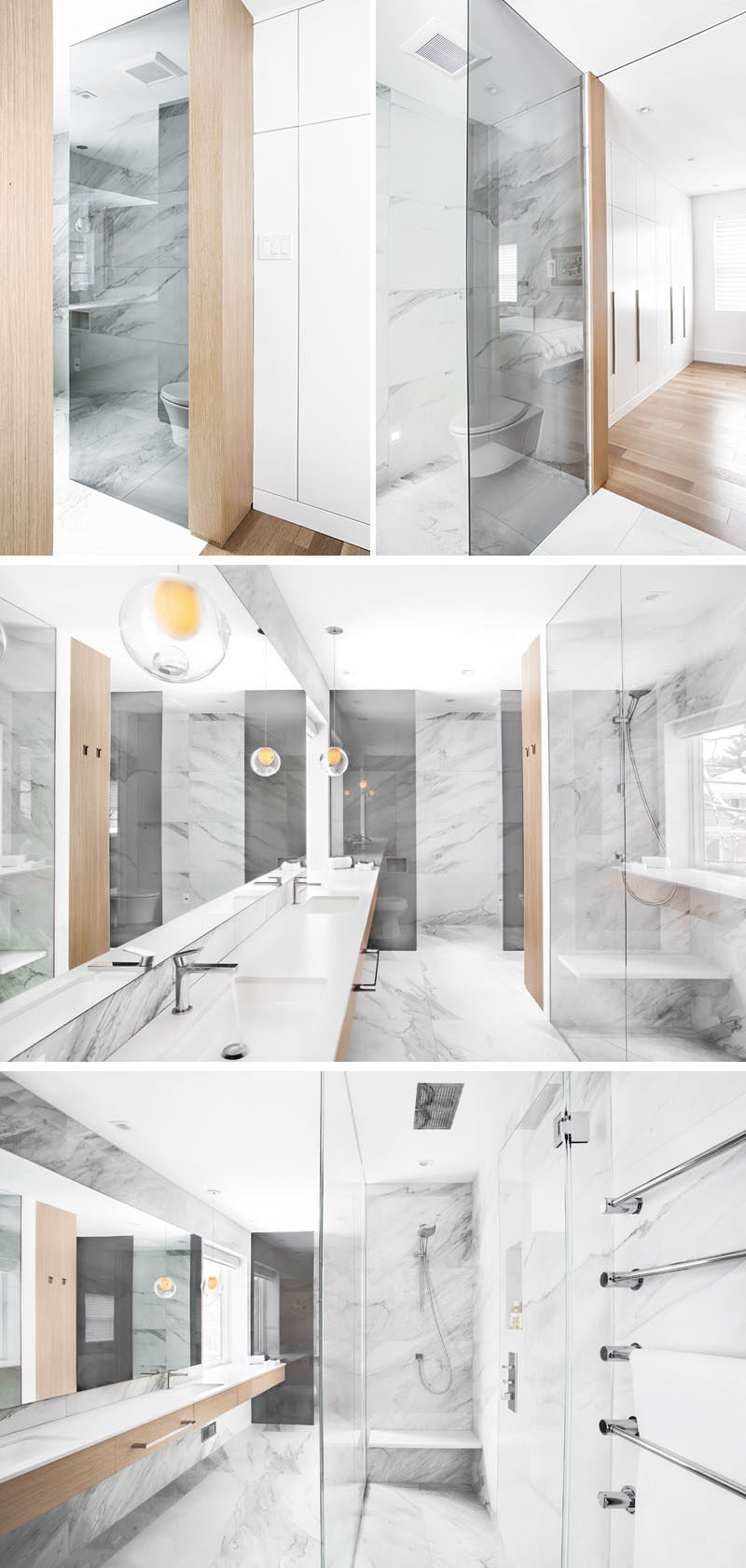 This new and updated master bathroom is a dramatic change from the previous bathroom. Located off to the side of the master, the bathroom features a walk-in shower, a partitioned toilet area and plenty of room.