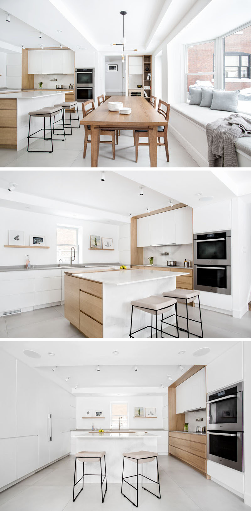 This updated kitchen and dining area is bright, welcoming and modern. The teak dining table and chairs were the only pieces that were preserved from the original kitchen design and inspired the new design. White with light wood elements was used to create the illusion of height and light.