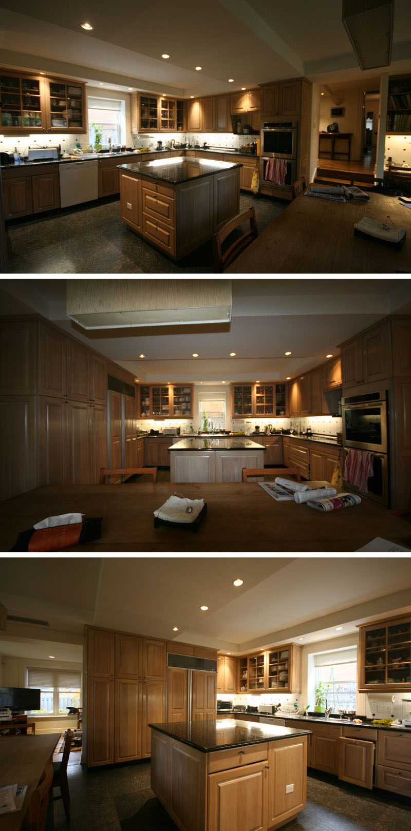 The Before Photos - In the late 80's, this kitchen was relocated into the garage, and as a result, the kitchen has eight foot concrete ceilings, and is quite dark.