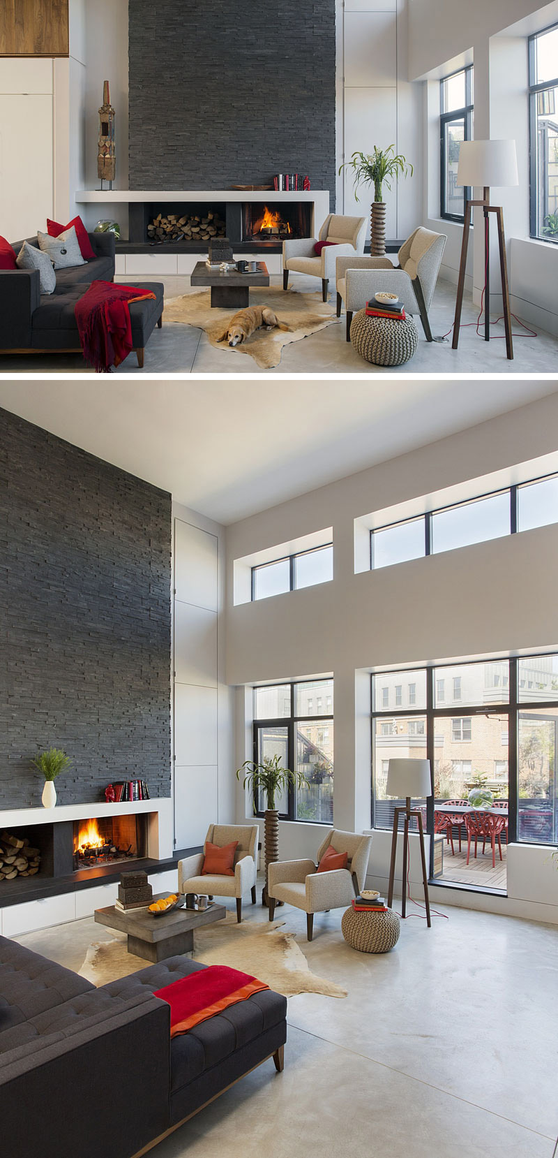 In this modern living room, the wood fire place is framed in a white display shelf, and sits in front of dark stone accent wall. Large windows and glass doors to outside provide extra light in this open room.