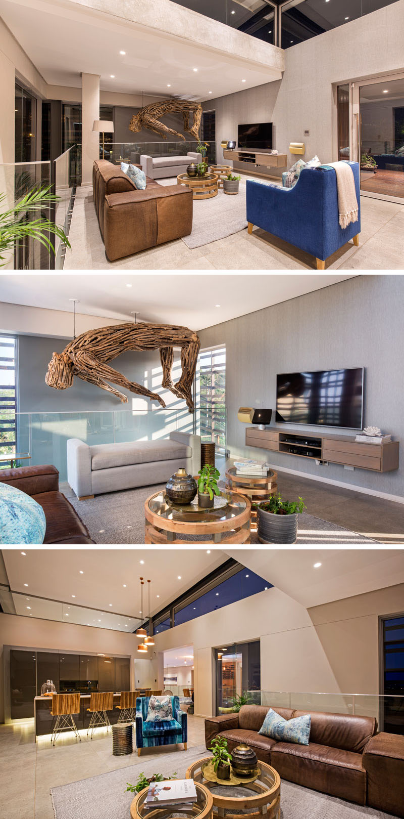 Stepping inside to the top floor of this modern home, the focal point of the living room is a large, wood art installation of a man, designed by the homeowner.