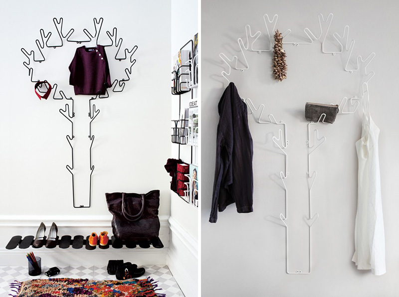 Large in size, these modern metal black and white wall hooks inspired by a tree holds multiple items while making a decorative statement in which ever room they're mounted.